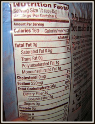 nutritional facts oats